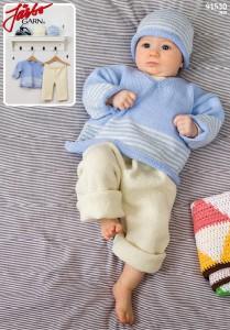 91530: V-tröja, mössa och byxa till baby