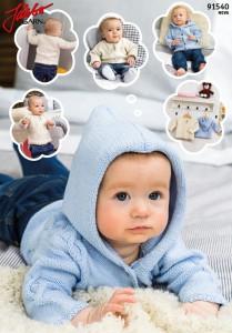 91540: Flätmösntrad tröja och luvkofta till baby